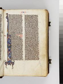 Taschenbibel, Detail mit Darstellung der Schöpfung, Paris, um 1250, Museum Schnütgen. © Rheinisches Bildarchiv, Köln/P. Schwarz.