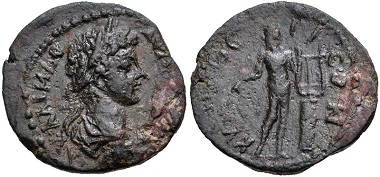 Lot 160. Messenia, Cyparissa. Caracalla, AD 198-217. AE Diassarion. Struck circa AD 198-209. Ex BCD Collection. Rare. Very fine. Estimate: 150 USD.