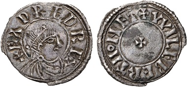 Lot 544: Anglo Saxon, Kings of Wessex. Eadred, 946-955. AR Penny. Bust Crowned (BC) type. Uncertain mint. Ex Collection of an Underwriter. Very fine. Estimate: 1500 USD.
