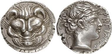 Lot 37: Bruttium, Rhegium. Tetradrachm. Starting price: 35,000 euros.