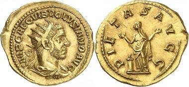 Lot 214: Roman Imperial times. Volusianus, 251-253. Aureus, Rome. Starting price: 20,000 euros.