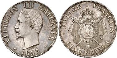 Lot 834: France. Napoleon III, 1852-1870. 5 francs 1853, silver proof, Paris. PCGS SP62. Starting price: 20,000 euros.