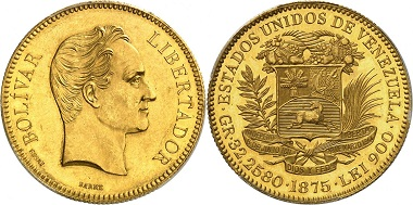 Lot 1499: Venezuela. Republic, 1830-date. 100 bolivares 1875, essai, Paris. Starting price: 50,000 euros.