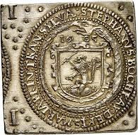 Lot 3415: Transylvania. Stephen Bocskai, 1604-1606. 1 1/2 taler klippe 1605, Nagybanya. Very rare. Old gilding, otherwise extremely fine. Estimate: 4,000,- euros. Hammer price: 65,000,- euros.
