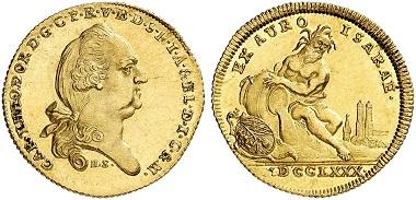 Lot 2151: Bavaria. Karl Theodor, 1777-1799. Isargold ducat 1780, Munich. Very rare. Almost FDC. Estimate: 12,500,- euros. Hammer price: 22,000,- euros.