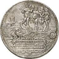 "Lot 2533: Magdeburg, city. Double taler 1622. So-called ""hurenkarren"" taler. Very fine to extremely fine. Estimate: 7,500,- euros. Hammer price: 14,000,- euros."