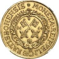 Nr. 2594: Regensburg, Stadt. 4 Dukaten 1664. Sehr selten. NGC MS63. Vorzüglich bis Stempelglanz. Taxe: 20.000,- Euro. Zuschlag: 32.000,- Euro.