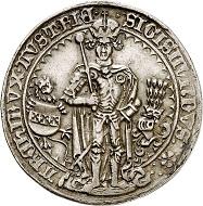 Lot 2978: Holy Roman Empire. Archduke Sigismund, 1439-1490. Guldiner 1486, Hall. Very rare. Extremely fine. Estimate: 10,000,- euros. Hammer price: 19,000,- euros.