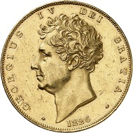 Lot 3231: Great Britain. George IV, 1820-1830. 5 pounds 1826, London. Only 150 specimens struck. From polished dies. Extremely fine / Extremely fine to FDC. Estimate: 25,000,- euros. Hammer price: 30,000,- euros.