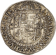 Lot 3310: Poland. Wladyslaw IV, 1632-1648. Thick double taler 1647, Cracow. Extremely rare. Old gilding, otherwise very fine. Estimate: 5,000,- euros. Hammer price: 32,000,- euros.