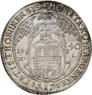 Nr. 3319: Thorn, Stadt. Taler 1650. Sehr selten. Vorzüglich. Taxe: 1.000,- Euro. Zuschlag: 10.000,- Euro.