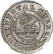 Lot 3483: USA. Continental Currency. Pewter Continental Dollar 1776. Extremely rare. Graded NGC MS60. Extremely fine. Estimate: 40,000,- euros. Hammer price: 48,000,- euros.