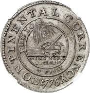 Nr. 3483: USA. Continental Currency. Zinn Continental Dollar 1776. Äußerst selten. NGC MS60. Vorzüglich. Taxe: 40.000,- Euro. Zuschlag: 48.000,- Euro.