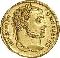 Lot 931: Maximinus Daia, AD 310-313. Aureus, 311-313, Thessaloniki. Extremely fine to FDC. Estimate: 12,000,- euros. Hammer price: 16,000,- euros.