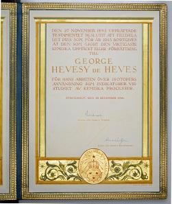 The official Nobel Prize Certificate of De Hevesny.