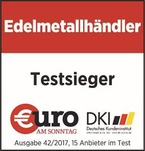 """Das Testsiegel der Euro am Sonntag: """"Bester Edelmetallhändler 2017""""."""