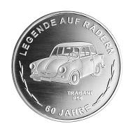 """""""60 Jahre Trabant"""" / Silber .300 / 32,5 mm / Design: Kerstin Schubert, Münze Berlin / Auflage: 1000."""