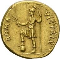 Galba, 68-69. Aureus, Tarraco(?), April bis Ende 68. GALBA – IMP Kopf mit Lorbeerkranz n. r. Rv. ROMA - VICTRIX Roma mit Lanze und Zweig n. l. stehend. RIC 44var. Unpublizierte Variante(?) Sehr schön. Taxe: 10.000 CHF. Aus der Galba Collection, Auktion Hess-Divo 333 (30. November 2017), Nr. 101.