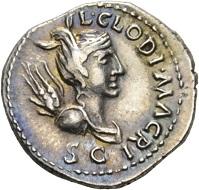 CLODIUS MACER. Denar, Nordafrika, 68. L CLODI MACRI / SC Büste der Victoria n. r. Rv. LIB AVG Legionsadler zwischen zwei Standarten, darunter LEG – III RIC 15. Eine der großen Seltenheiten der römischen Münzprägung: Weniger als 10 Stücke dieses Typs sind bekannt. Vorzüglich. Taxe: 25.000 CHF. Aus der Galba Collection, Auktion Hess-Divo 333 (30. November 2017), Nr. 87.