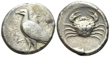 Lot 29: Sicily, Agrigentum. Tetradrachm, circa 475-472 or later. From a collection formed in the '30s. Toned, marginal area of corrosion on obverse, otherwise Good Very Fine. Starting bid: 300 GBP.