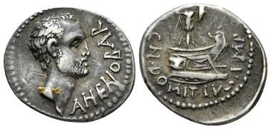 Lot 595: Cn. Domitius Ahenobarbus. Denarius, mint moving with Ahenobarbus in 41. Rare. Old cabinet tone, bold and realistic portrait, Good Very Fine. Starting bid: 250 GBP.