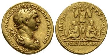 Lot 664: Trajan, 98-117. Aureus, circa 116. Very Fine. Starting bid: 1,250 GBP.