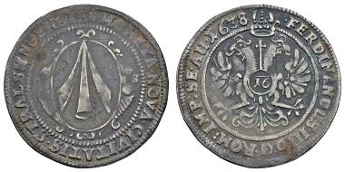 Los 177: Deutschland, Stralsund, unter Christina von Schweden, 1637-1654. 1/2 Taler = 16 Schilling 1638 mit Titel Ferdinands II. Ausruf: 500 Euro. Zuschlag: 3.800 Euro.