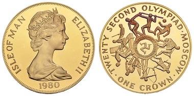 Los 1302: Isle of Man, Elisabeth II., 1952-. Crown 1980. Olympische Winterspiele Moskau. Ausruf: 1.700 Euro. Zuschlag: 4.200 Euro.