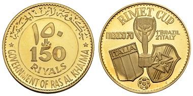 Los 1965: Ras Al-Khaimah, Saqr bin Muhammad al-Qasimi, 1948-1999. 150 Riyals 1970. Fußball-WM in Mexiko. Ausruf: 5.000 Euro. Zuschlag: 8.500 Euro.