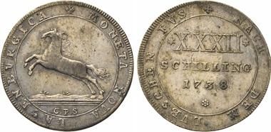 Los 145: Sachsen-Lauenburg. Georg II. von Braunschweig-Calenberg-Hannover, 1727-1760. 32 Schilling 1738 CPS, Mzz. des Christian Philipp Spangenberg in Clausthal. Dorfm. 130. W. 2653. J. 11.