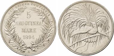 Los 2101: Deutsch-Neu-Guinea. 5 Neu-Guinea Mark 1894 A. J. 707. Dav. 429.