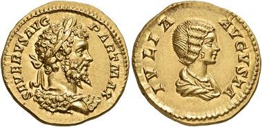 Los 244: Septimius Severus, 193-211. Aureus, 201. Virtually as struck. Estimate: 30,000 CHF. Hammer price: 52,000 CHF.