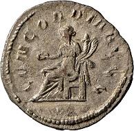 Die jüngste Münze des Köngener Schatzes: ein Antoninian des Philippus Arabs für Otacilia Severa, 246-248 n. Chr. Landesmuseum Württemberg, Fotos: Adolar Wiedemann.