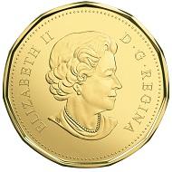 Canada / 1 Dollar / Three-ply brass finish plated steel / 6.27g / 26.5mm / Design: Susanna Blunt (obverse) and Steven Rosati (reverse) / Mintage: 50,000.