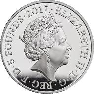 United Kingdom / 5 Pounds / Silver .925 / 28.28g / 38.61mm / Design: Jody Clark (obverse) and Stephan Taylor (reverse) / Mintage: 5000.