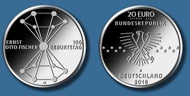 """20-Euro-Gedenkmünze """"100. Geburtstag Ernst Otto Fischer"""". Quelle: BADV."""