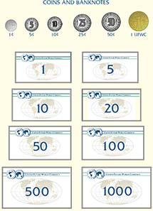 Entwürfe für Münzen und Geldscheine des UFWC.