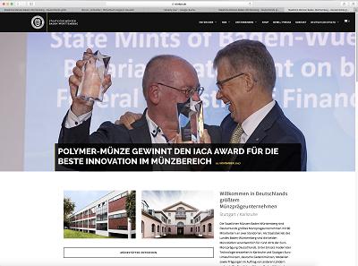 Screenshot der neuen Website der Staatlichen Münzen Baden-Württemberg.