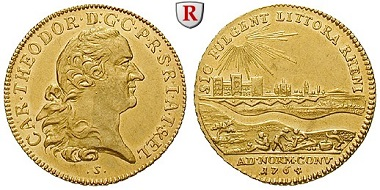Pfalz, Kurpfalz. Karl Theodor, 1743-1799. Dukat 1764, Mannheim. Rheingolddukat. Vorzüglich +, kl. Kratzer. 4.650 Euro.