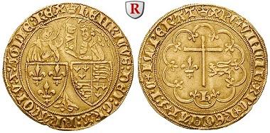 Frankreich. Henri VI., 1422-1453. Salut d'or o. J. (1423), Rouen. Sehr schön +. 2.250 Euro.