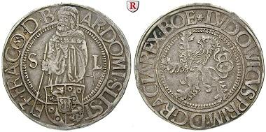 Schlick, Grafschaft. Stephan, Burian, Heinrich, Hieronymus und Lorenz, Taler o. J. (1520-1525), Joachimstal. Sehr schön-vorzüglich. 2.650 Euro.