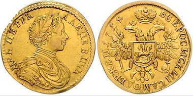 Los 1181: Russland. Peter I. der Große, 1689-1725. Dukat 1714. Schätzpreis: 17.500 Euro. Zuschlag: 19.000 Euro.