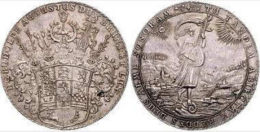 Los 1975: Braunschweig und Lüneburg, Linie Wolfenbüttel. Rudolph August, 1666-1685. Löser zu 3 Talern 1685 (Wertpunze 3) RB, Zellerfeld. Schätzpreis: 10.000 Euro. Zuschlag: 12.500 Euro.