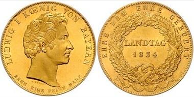 Los 2449: Bayern. Ludwig I., 1825-1848. Goldabschlag des Geschichtstalers von 1834. Schätzpreis: 24.500 Euro. Zuschlag: 41.000 Euro.