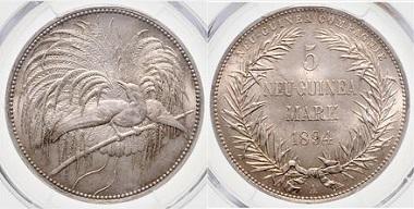Los 3221: Deutsch-Neuguinea. 5 Mark 1894 A. Schätzpreis: 10.000 Euro. Zuschlag: 10.500 Euro.