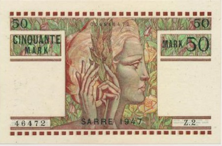 Los 4910: Deutsches Reich. Saarland, 50 Mark 1947. Schätzpreis: 1.500 Euro. Zuschlag: 2.250 Euro.