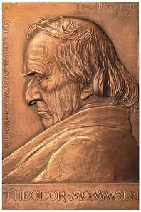 Bronzeplakette auf Theodor Mommsen von Joseph Kowarzik. Foto: Thomas Zachmann.