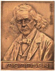 Bronzeplakette auf den Tod von Theodor Mommsen von Heinrich Zimmermann. Foto: Thomas Zachmann.