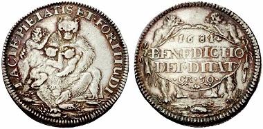 Säugende Bären-Pfennige: ab 1653 (?) bis kurz vor 1800. Zuerst nur an Professoren, später auch an die besten Studenten der obersten drei Klassen abgegeben.