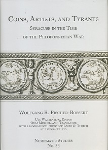 "Wolfgang R. Fischer-Bossert, Ute Wartenberg (Hrsg.), Coins, Artists, and Tyrants. Syracuse in the Time of the Peloponnesian War with selected passages from L. O. Tudeer, ""Die Tetradrachmenprägung von Syrakus in der Periode der signierenden Künstler"" translated by Orla Mulholland, and a biographical sketch about Tudeer by Tuukka Talvio. Numismatic Studies 33. The American Numismatic Society, New York 2017. 400 S. mit Abbildungen in Schwarz-Weiß und 27 Tafeln in Schwarz-Weiß. 21,5 x 30,5 cm. Hardcover, ISBN: 978-0-89722-341-6. $200 (ANS-Mitglieder: $140) zzgl. Porto."